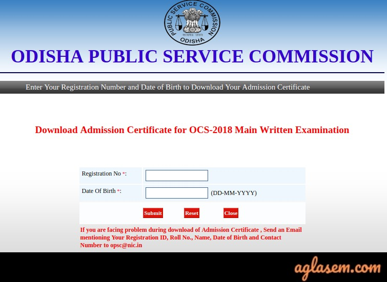 OPSC Odisha Civil Services Admit Card 2018 (Issued for main Exam
