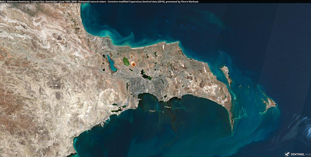 Baku, Absheron Peninsula, Caspian Sea, Azerbaijan - June 15th, 2019