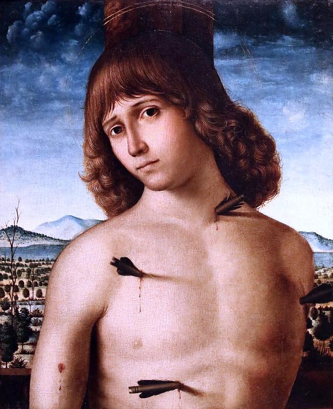 IMG_4234 Pietro de Saliba actif à Messine et Gênes  de 1497 à 1501 Saint Sébastien vers 1500 Bergamo Accademia Carrara