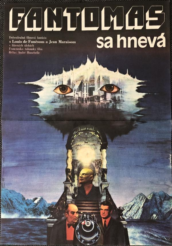 Originálny filmový plagát Fantomas sa hnevá 1974