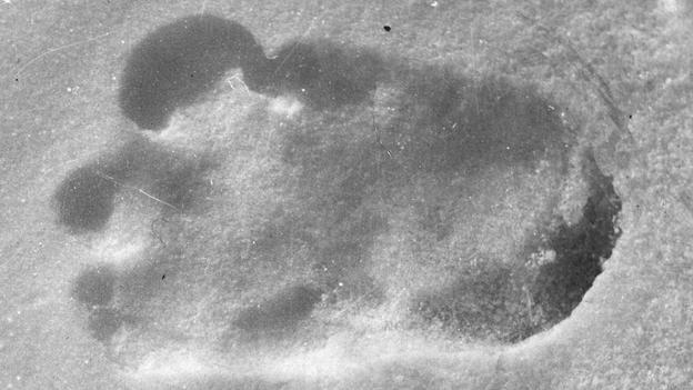 Huella sobre la nieve atribuida supuestamente al Yeti en Bután