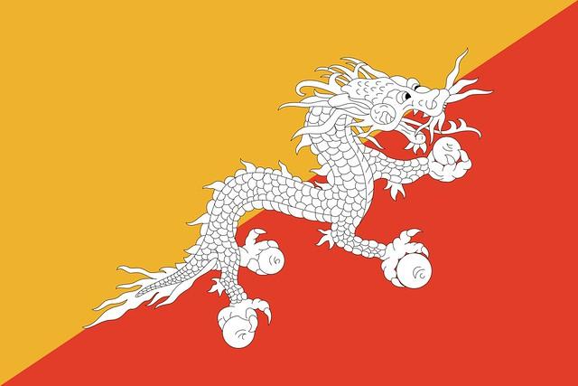 Bandera de Bután con un dragón como emblema