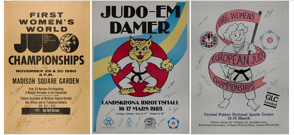 Examples of judo competition promotional posters, 1980s.