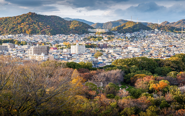 Aerial view of Hyogo prefecture of Japan in autumn