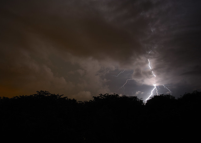 Low clouds and lightning