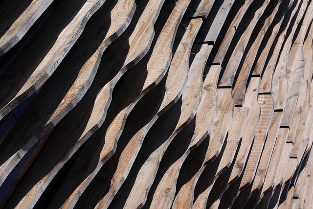 Pattern of wood boards on the front of a building