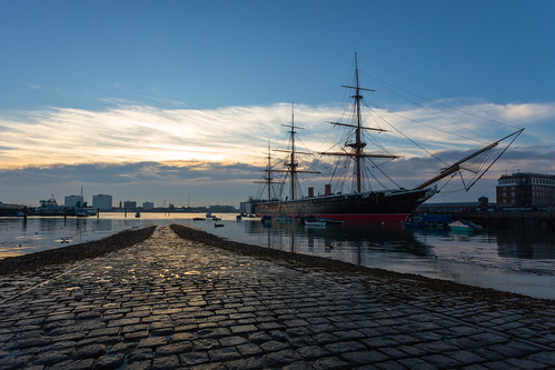 hmswarrior portsmouthharbour sunset cobles boats