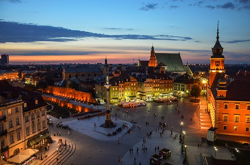 city warsaw square castle oldtown sunset monument panorama architecture
