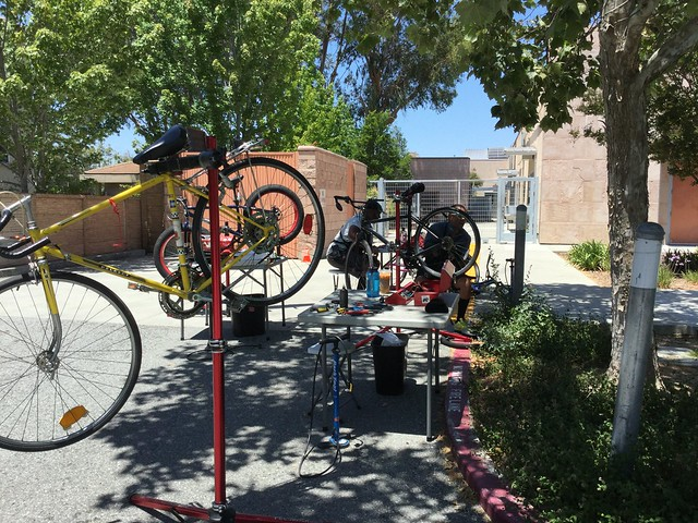 The Bay Area Bike Mobile visited the Dr. Roberto Cruz Alum Rock Branch Library on Tuesday, June 18, 2019. They fixed community members bikes and talked about bike care.