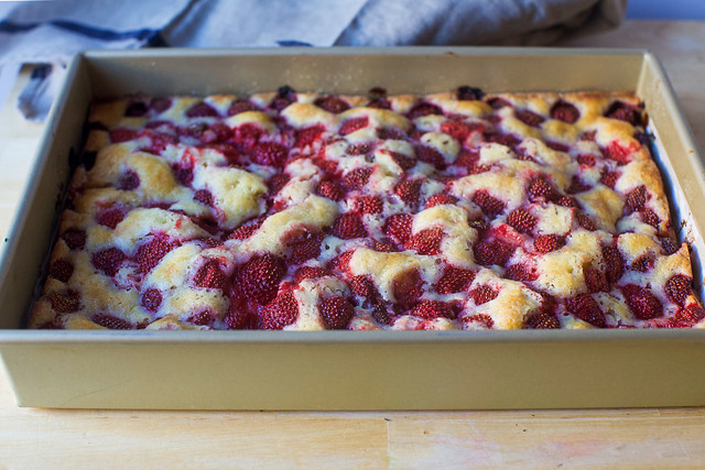 strawberry summer sheet cake, baked
