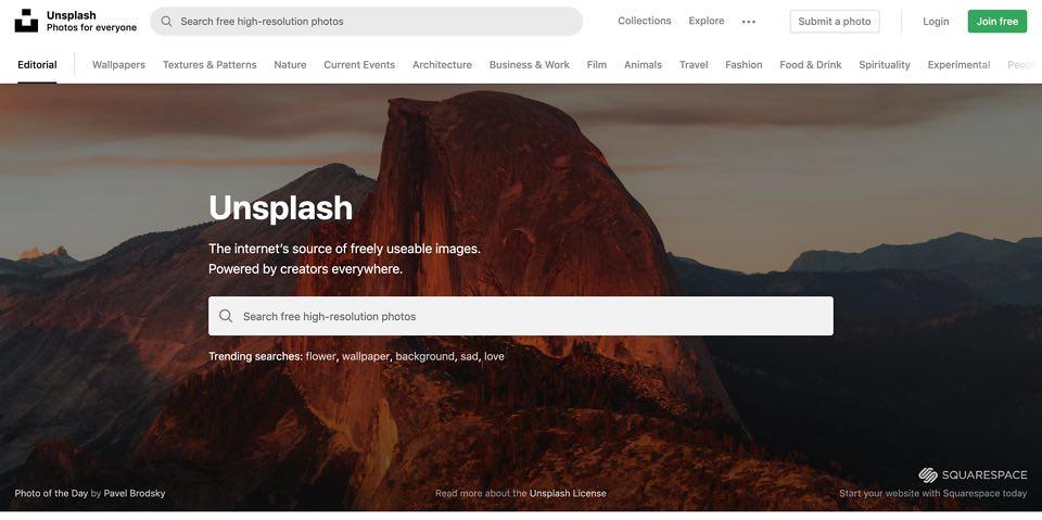 Unsplashトップページ