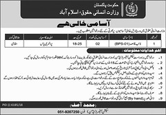 Jobs In Ministry of Human Rights Pakistan 2019