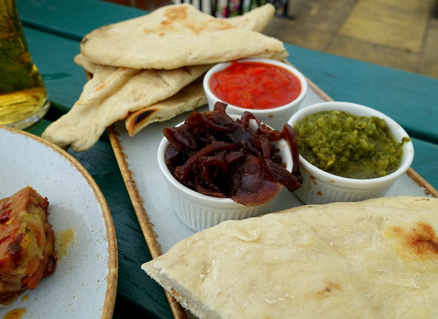 Homemade Flatbreads with Tomato Chutney, Onion Marmalade and Chilli Corriander Dips