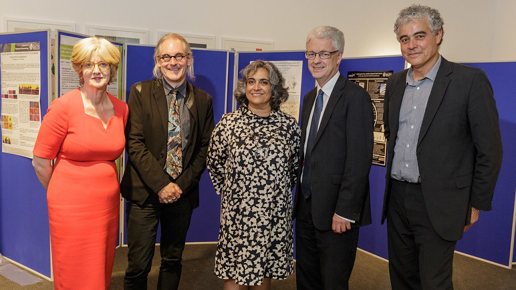 Left to right: Prof Hope Hailey, University VP and Dean of Management; Prof Wilson, ADR (Science); Prof Larijani, Chair, CTI; Prof White, VC; and Prof Parker, Director of the CRUK KHP Centre, King's College.