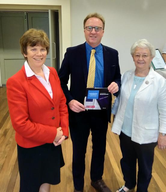 Dr Anne Heaslett (Principal, Stranmillis University College), Dr Peter Hamill and Ms Rosemary Rainey (Chair, Transferor Representatives' Council).