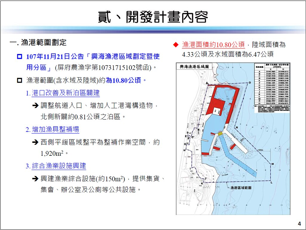 興海漁港擴建計畫內容。擷取自環評書件