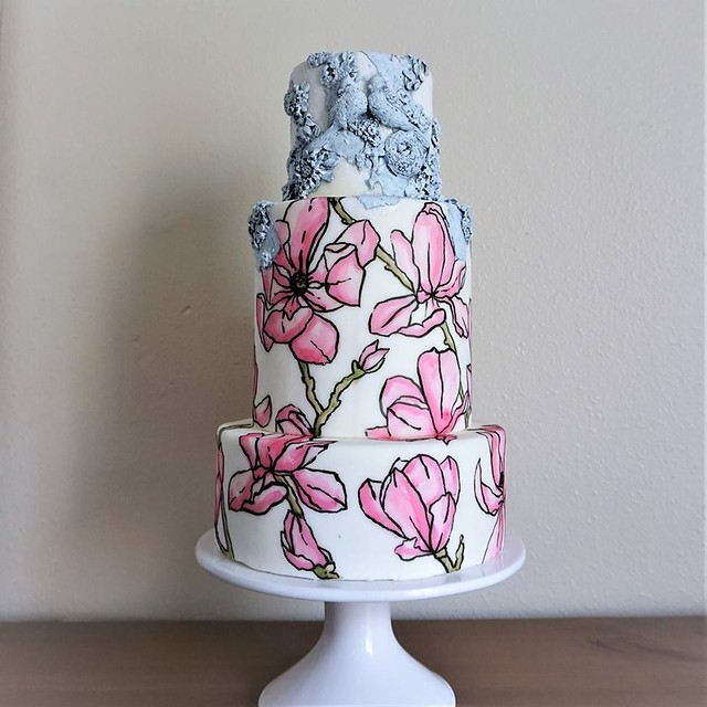 Magnolia Hand-Painted Cake with Bas-Relief Details by Astashkina Cakes