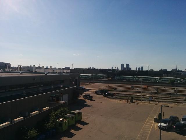 Looking north at the VIA Rail Toronto Maintenance Centre #toronto #etobicoke #islingtonave #rail #blue #sky #gotransit #willowbrookyard #viarail #torontomaintenancecentre #latergram