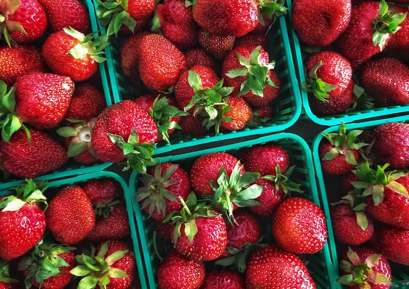 Freshly picked local strawberries