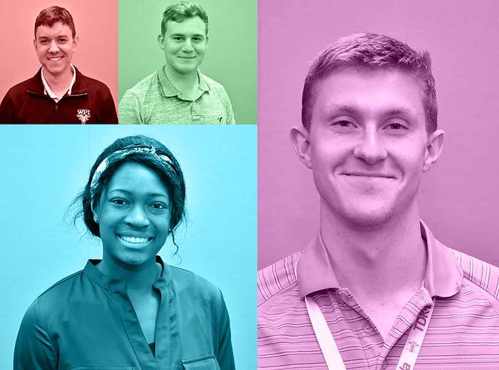 Portrait photos of four students.