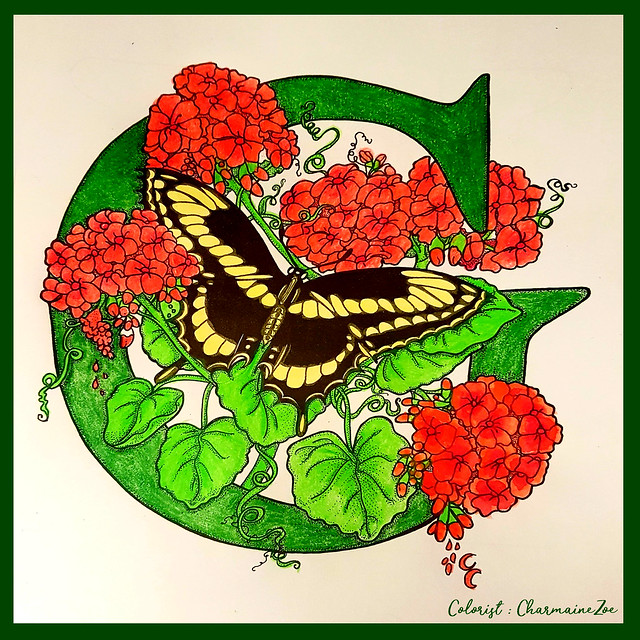 Swallowtail Butterfly with Geraniums