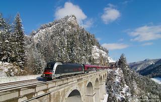 1216.025 ÖBB, railjet 133 Gondoliere, Krausel-Klause-Viaduct, Breitenstein - Wolfsbergkogel (Austria)