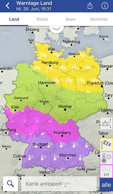 Yellow is wind, green is no warning, pink is ultra-violet light levels and purple is hot (over 30 Celsius). Sourced from the Deutscher Wetterdienst App - I hope this artistic use is OK