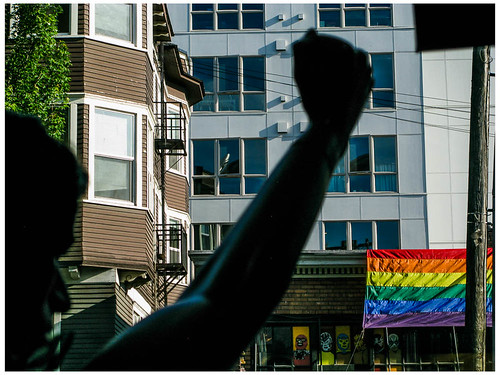 Pride Window with Flag
