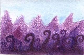 purple ferns watercolor play