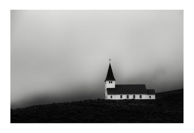 Vik church in mist
