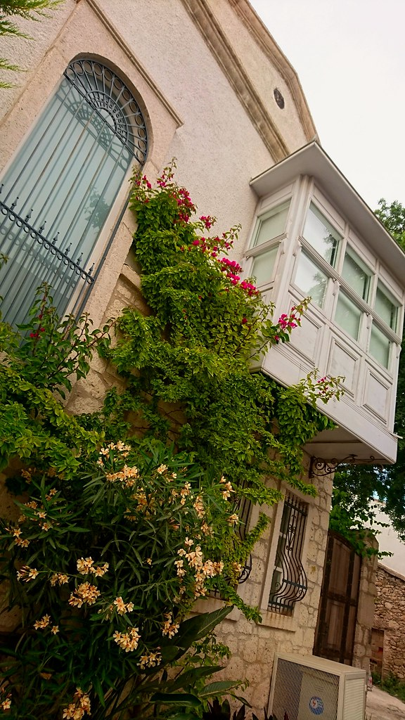 Greek house with flowers