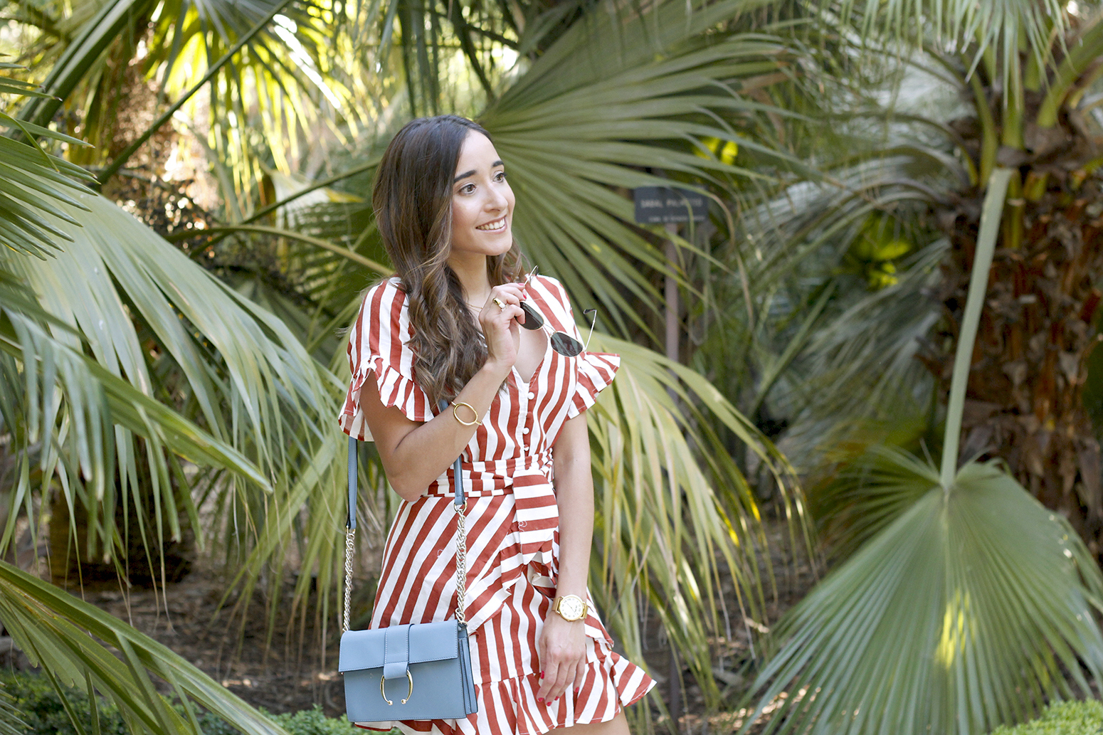 striped and ruffled dress summer street style outfit 201912