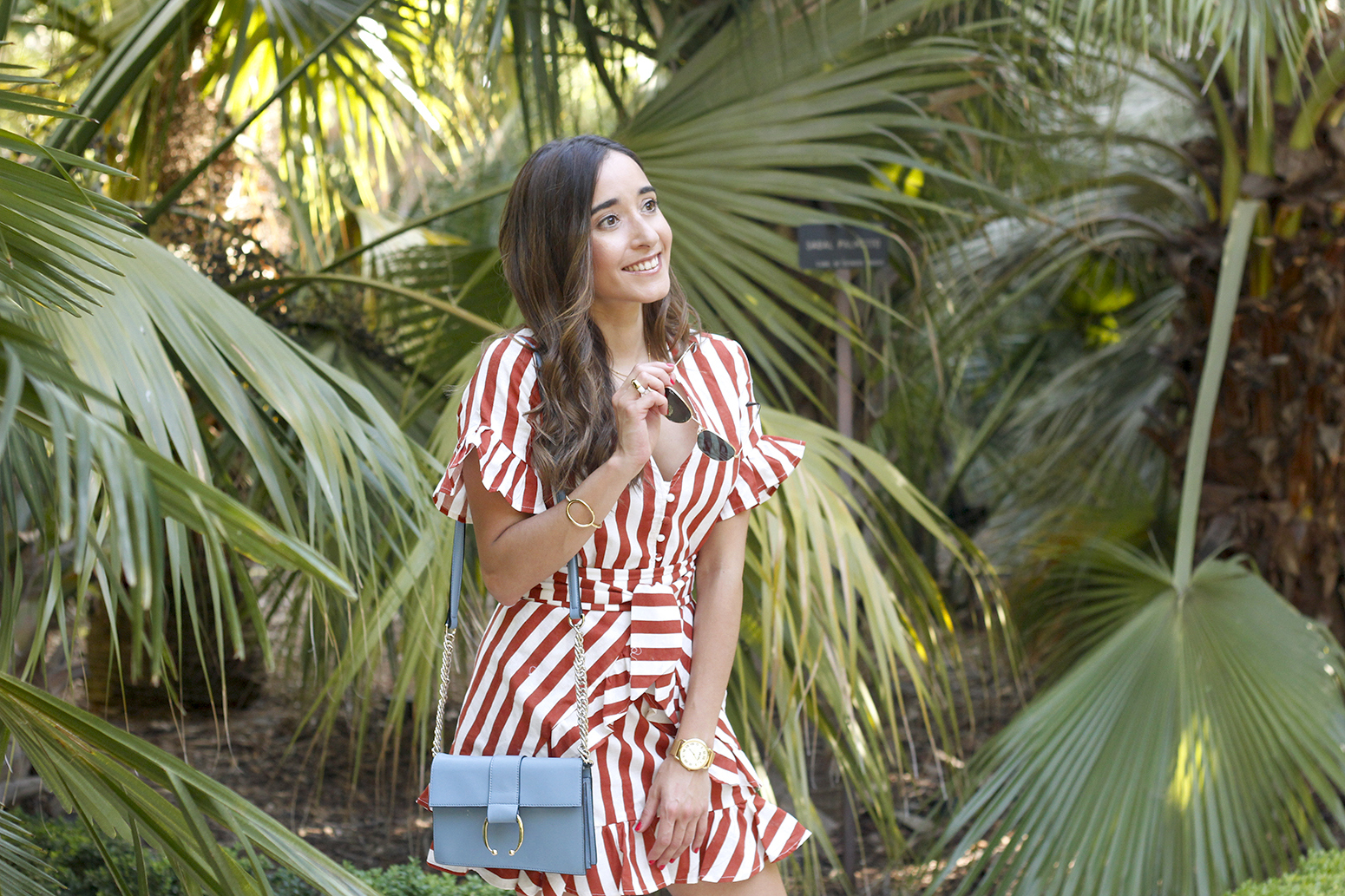 striped and ruffled dress summer street style outfit 201911