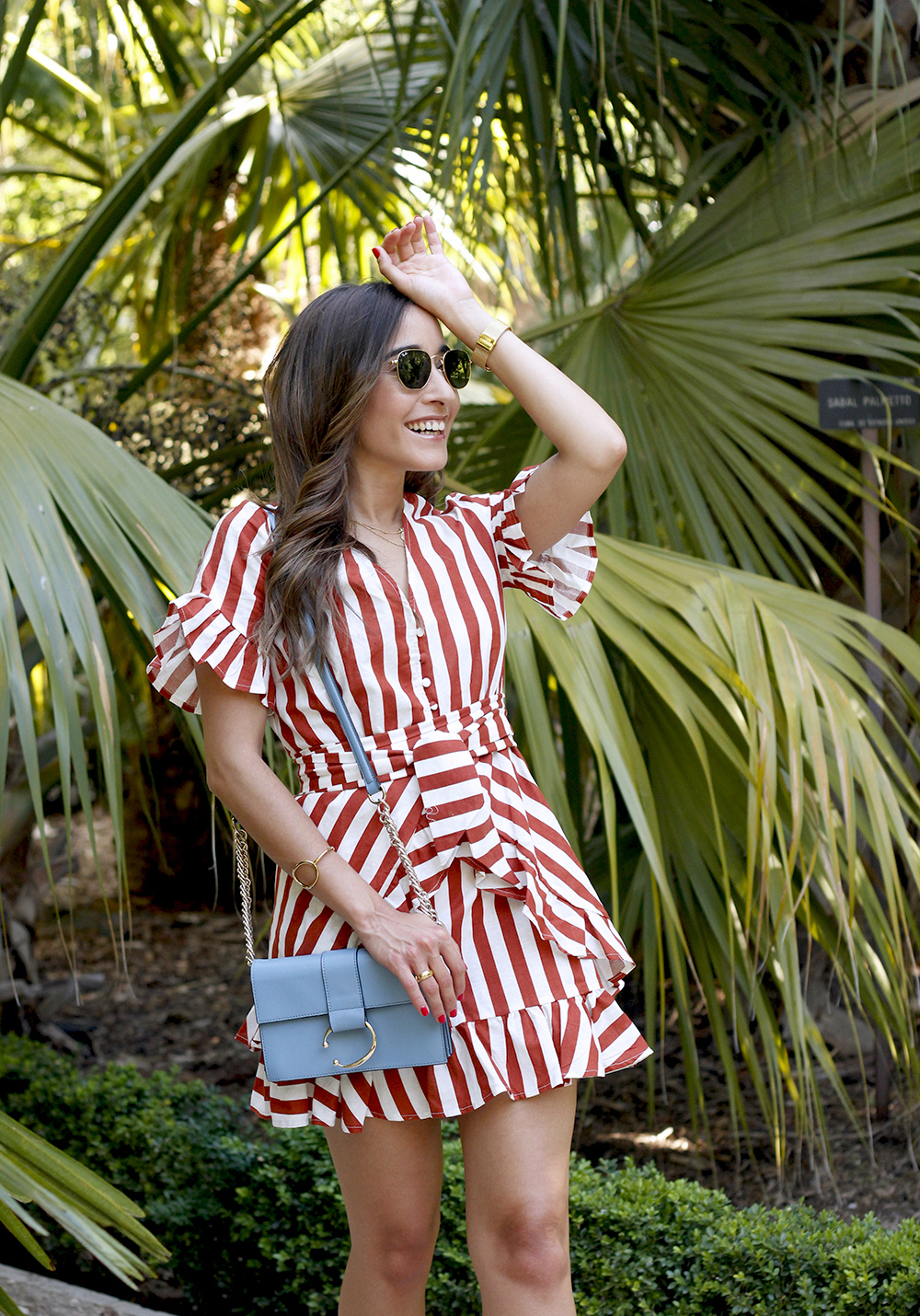 striped and ruffled dress summer street style outfit 20199