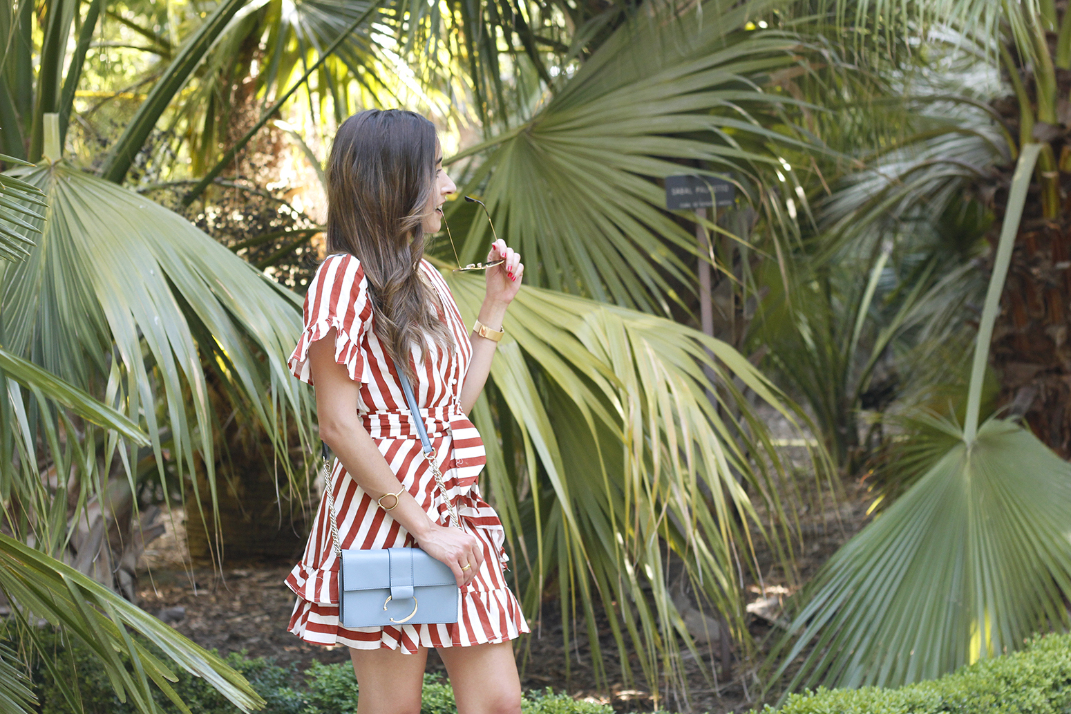 striped and ruffled dress summer street style outfit 20197