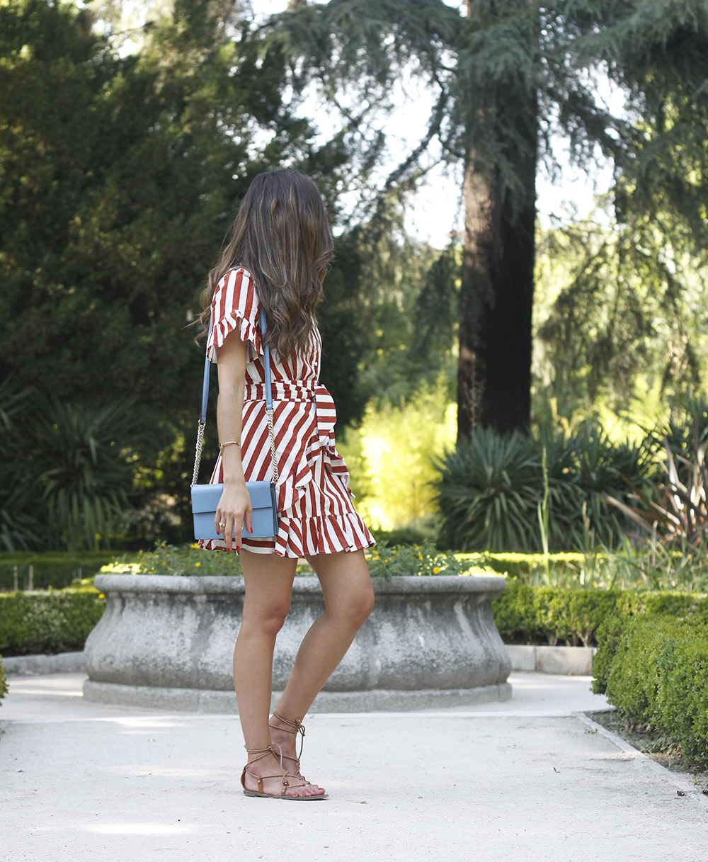 striped and ruffled dress summer street style outfit 20193