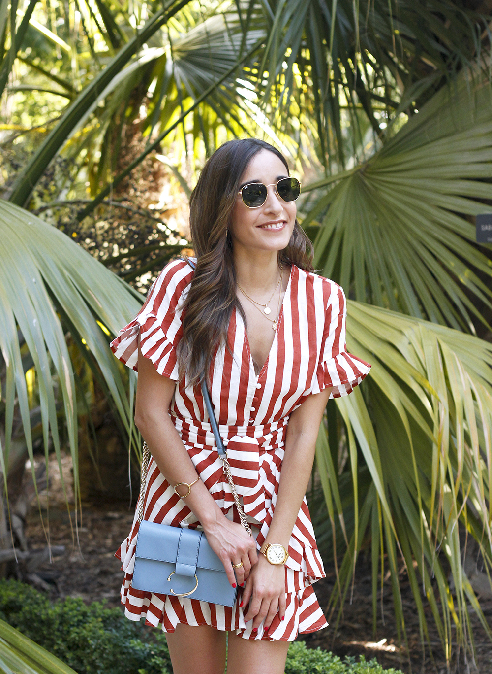 striped and ruffled dress summer street style outfit 201910