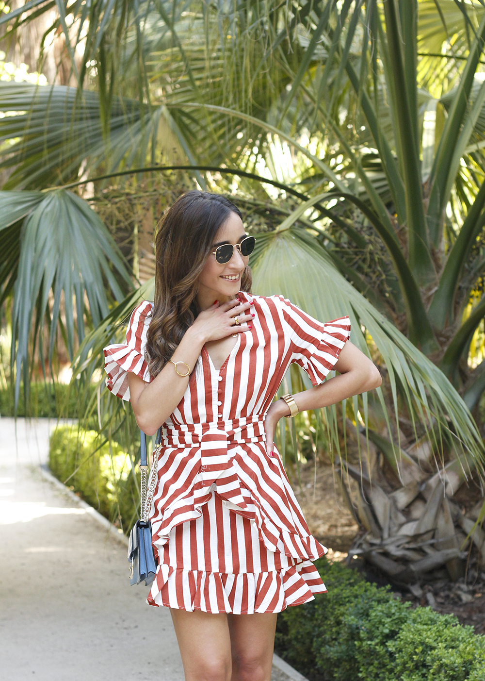 striped and ruffled dress summer street style outfit 20196