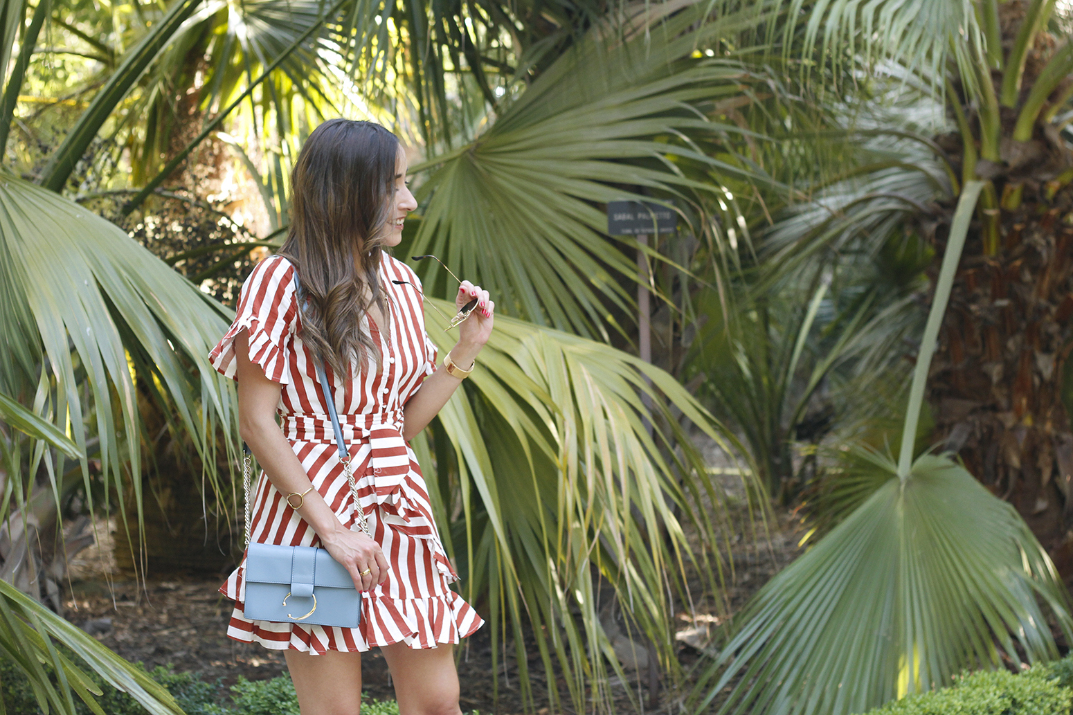 striped and ruffled dress summer street style outfit 20198