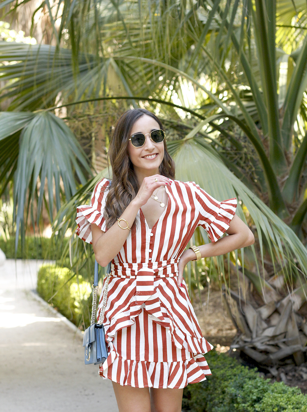 striped and ruffled dress summer street style outfit 20195