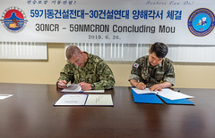 Capt. Steve Stasick and Capt. Seok Han Yoon, sign a memorandum of understanding between their two units, June 26. (U.S. Navy/MCC Matthew White)