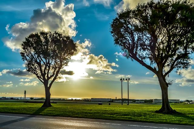 Okinawa Sun Setting Across Flight Line
