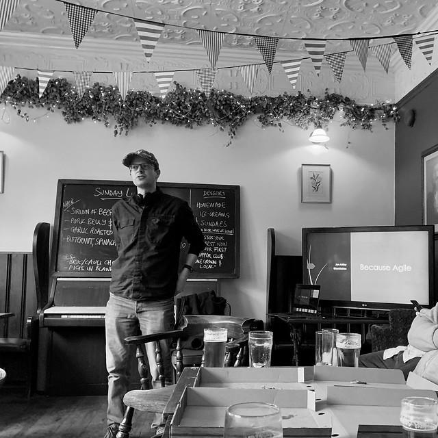 Jon presenting on Agile methodologies at Worcester Source