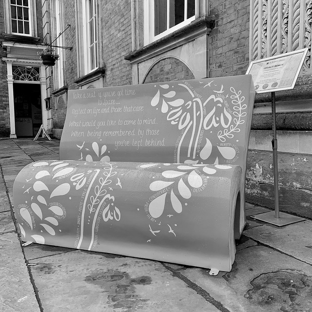 Bench outside Worcester Guildhall