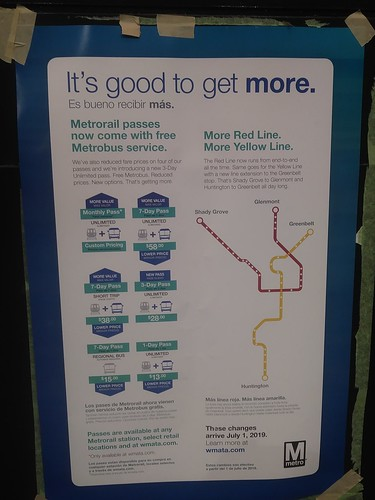 Poster promoting new rider-friendlier transit pass product pricing, WMATA/Metrorail, DC area