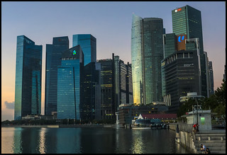 Singapore Business area at dawn-2=