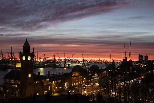 hamburg hafen harbour longtimeexposure langzeitbelichtung sonnenuntergang sunset