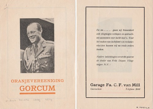 Gedropt leaflet - Oranjevereniging Gorcum -31-08-1946 - C.F. van Mill