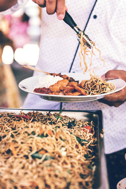Indonesian food, mie goreng ayam, fried noodles with chicken. Bali, Indonesia.