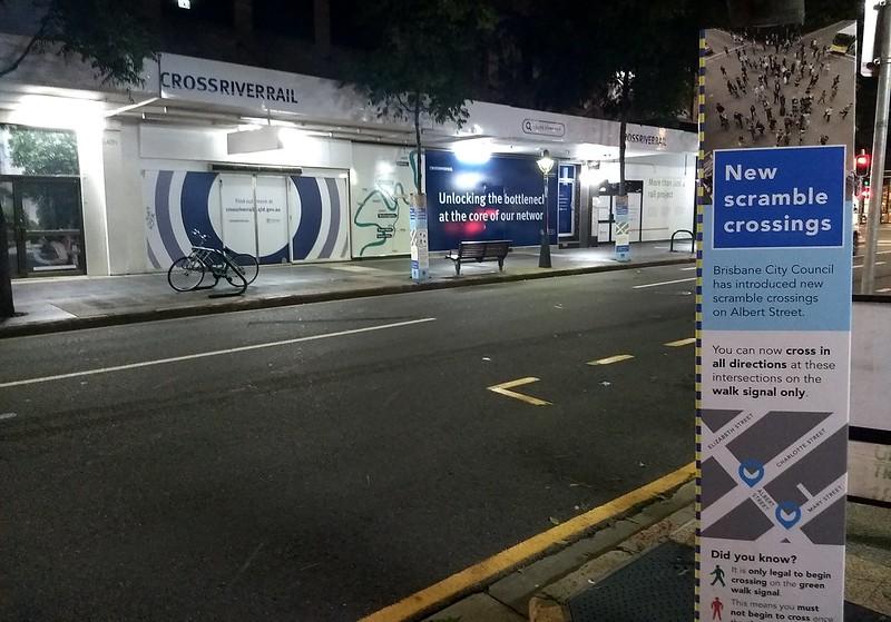 Brisbane CBD: new scramble crossings, and Cross River Rail under construction